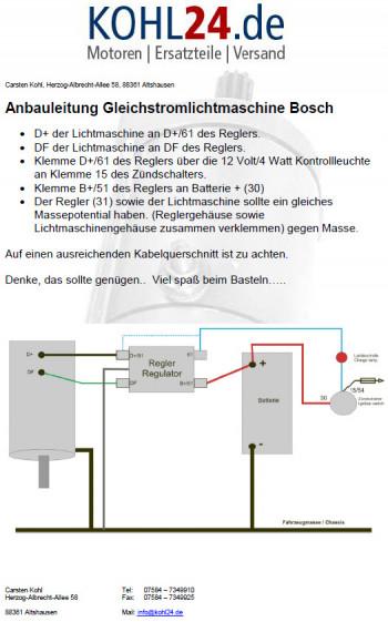 Lichtmaschine Gleichstrom Bosch Schlüter LJ/RJJ/130/12/1500CR6 ...